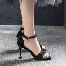 Shoes woman2019 new summer word girl black high heel stiletto sexy wild net red super fire single shoes spring