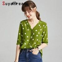 SuyaDream Silk Polka Dots Blouse Woman 100% Silk Crepe Half Sleeves V neck Office Blouse Shirt 2020 Summer Elegant Chiffon Shirt