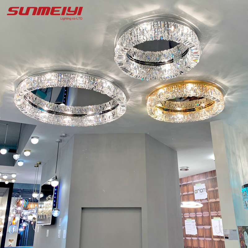 Nordic LED Ceiling Lights Gold Crystal Bedroom Lamp Round Ceiling Indoor Lighting Fixture For Kitchen Living Room Home Art Deco
