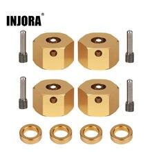 INJORA 4 adet ağır pirinç Metal 12MM tekerlek Hex 6/8/9/10 MM genişletilmiş adaptörü için RC paletli eksenel SCX10 III AXI03007
