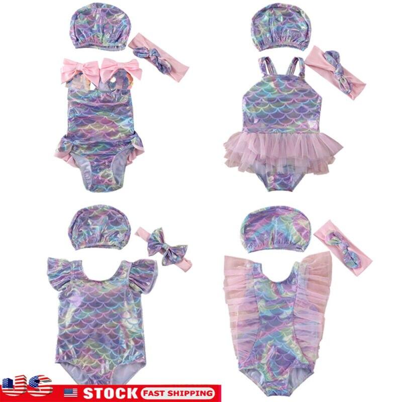 Marca de moda 2020, traje de baño de sirena bonito para niño y niña, traje de baño de verano con lazo, novedad en traje de baño de Bikini