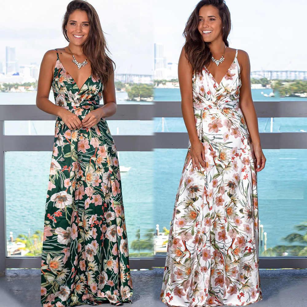 2020 renkli tropikal orman yaprak Boho uzun elbise Sling çapraz geri kadın V boyun parti gece zarif seksi Maxi yaz elbiseler