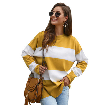 Autumn Winter 2020 women tops knitted striped yellow casual sweater o neck loose long sleeve Minimalist ladies oversize pullover vintage cartoon knitted loose autumn winter sweaters women 2020 casual pullovers sweater oversize o neck long sleeve ladies tops