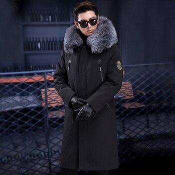 2019 jesień i zima nowy męska kurtka futro szopa kołnierz qinggen futro wydry liniowej mężczyzna w średnim wieku długi pełna futro płaszcz