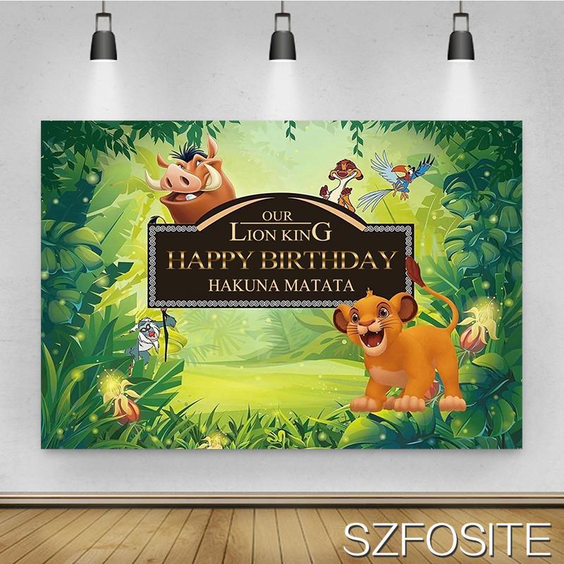 Фон для студийной фотосъемки с изображением мультяшного льва дикого кабана детского дня рождения вечевечерние НКИ животного леса декораци...
