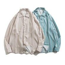 Ins Stripes Shirts Men Long Sleeve Casual All Match Shirt Khaki Blue Green Steet Loose Jacket Outerwear Spring Autumn Tops 2021