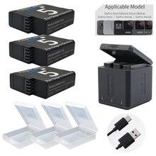 1600mAh Go Pro Hero5 Hero7 battery + Type-C USB 3 Slots storage box charger for GoPro hero5 6 7 Hero 5 Camera accessories