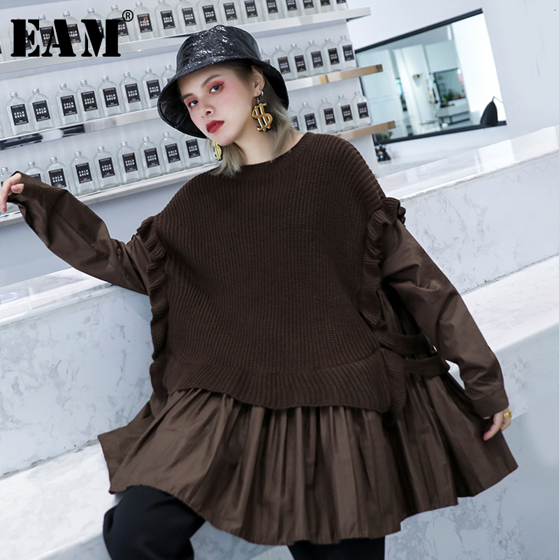 [EAM] Pleated Split Knitting Sweater Loose Fit Round Neck Long Sleeve Women Sweater New Fashion Autumn Winter 2019 1H725