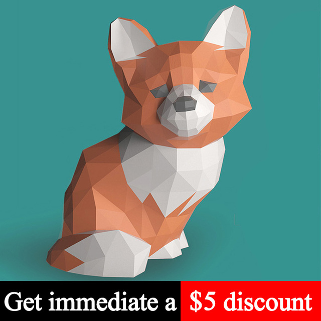 Sad Fox Animal Decor Home Decoration Paper Model Ornaments,Low Poly 3D Papercraft,Handmade DIY Origami Adult Craft Toy RTY210 1