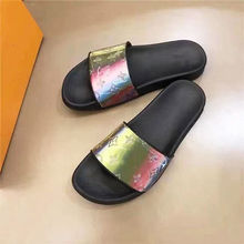 Flat Women Slippers 2020 Summer Designers Rays Leather Beach Shoes Female Slides