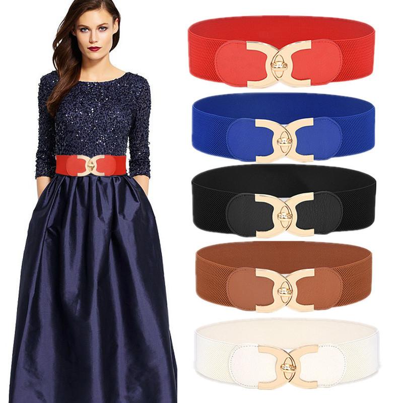 New Korean Style Windbreaker Elastic Waistband Button Decoration Wide Belt Ladies Belt Alloy Buckle Belt Dress Women Accessory