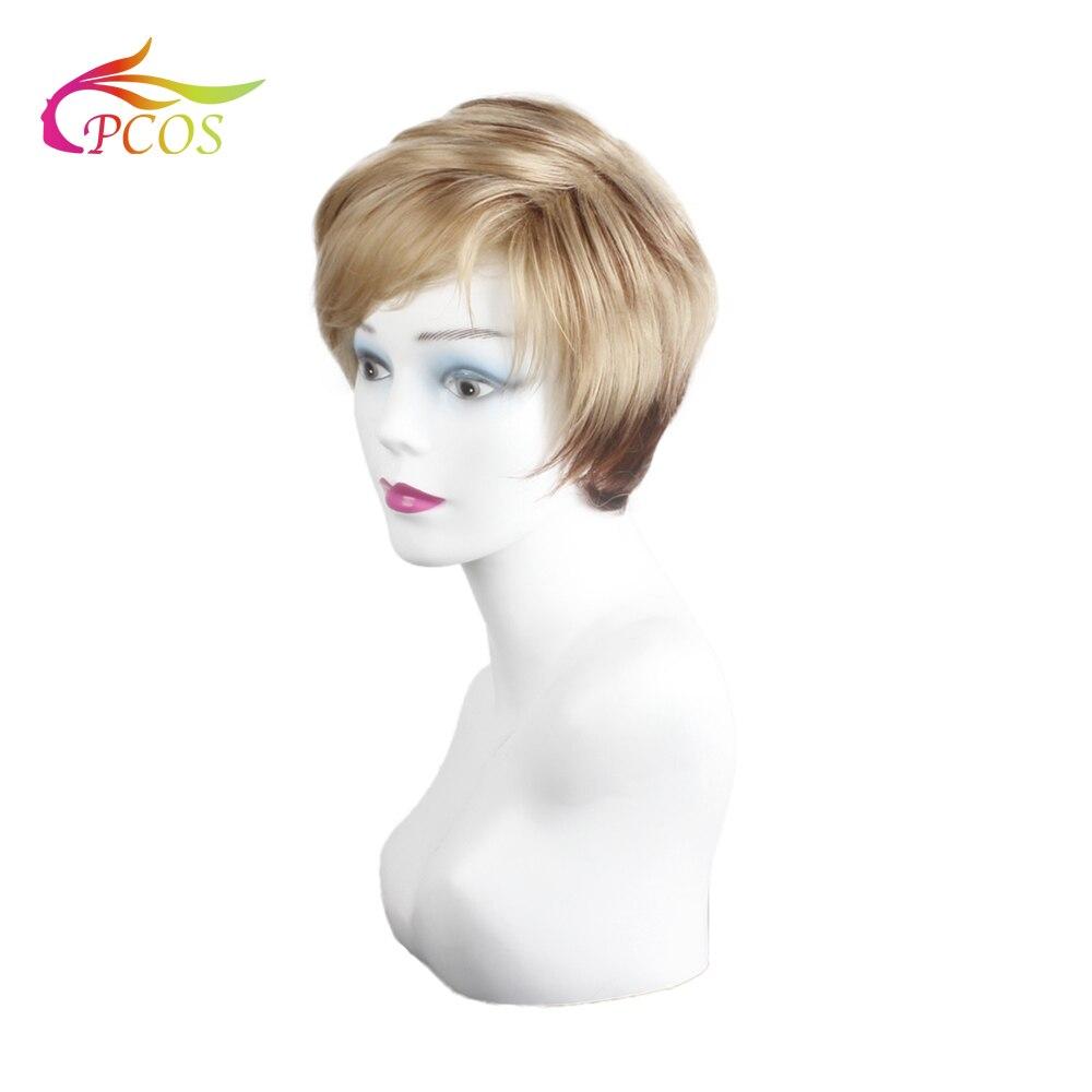 Купить короткий парик блонд градиент темно коричневый с челкой для