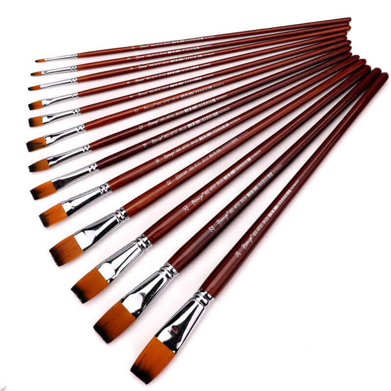 13Pcs Long Handle Nylon Hair Flat Shape Oil Brush Set For Artist School Student Acrylic Watercolor Painting Tool Supplies