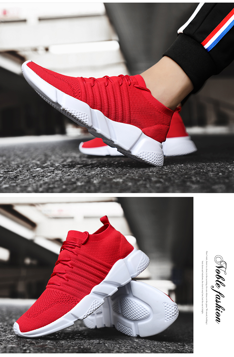 Hf54482ed8b0341cca36f8f1843127665Q - Men Sneakers Lightweight Flykint Casual Shoes Men Slip On Walking Socks Shoes Trainers Mesh Flat Homme Big Size Tenis Masculino