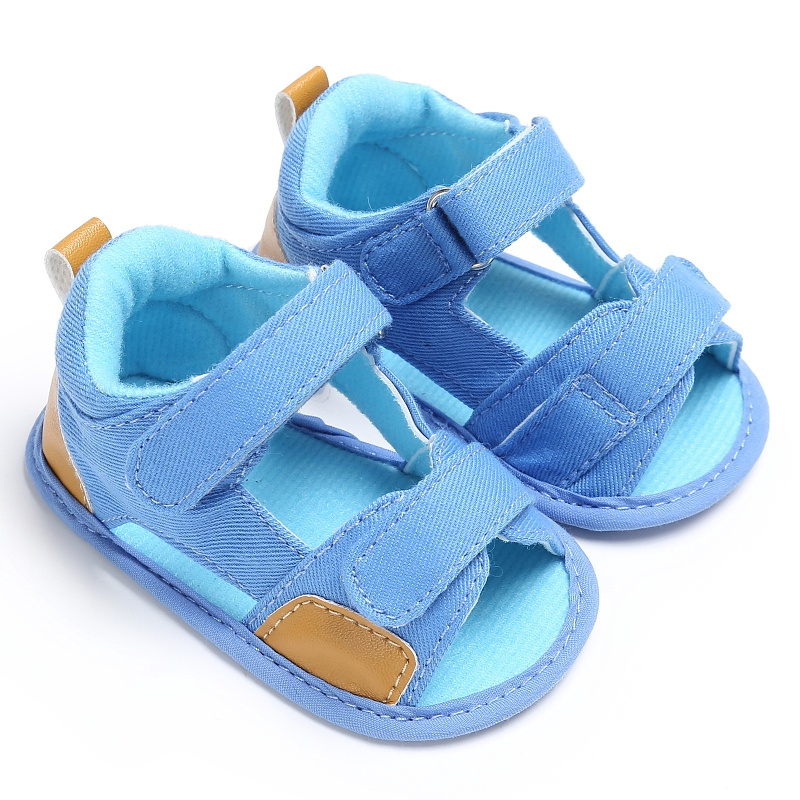 Infant Kids Boy Shoes Soft Sole Crib Toddler Sandals Summer Sandal Casual Patch Hook Baby Jean Cloth Footwear
