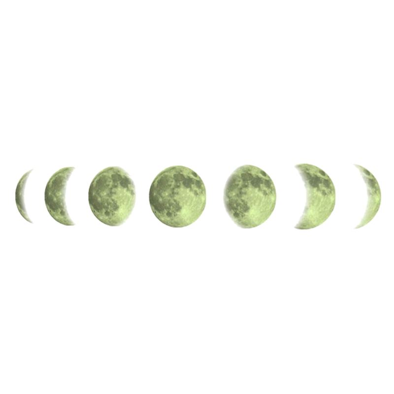 Fluorescent Moon Phase Diagram Creative Moon Home Decoration Wall Sticker