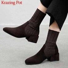 Krazing Pot popular breathable soft flock knitting socks boots round toe med heels slip on winter women solid ankle boots L92