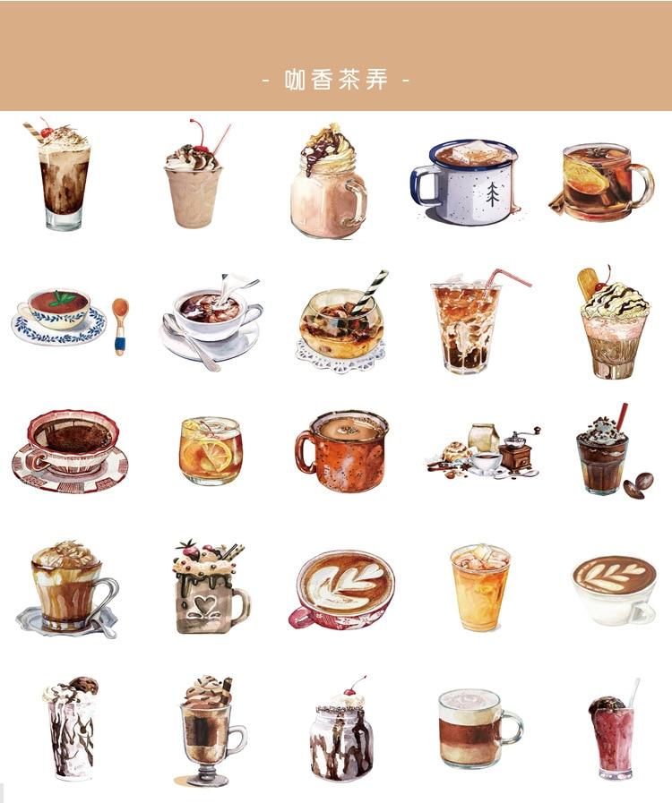50 Pcs/pack Coffee Milk Bullet Journal Stationery Decorative Stickers Scrapbooking DIY Diary Album Stick Label Sticker