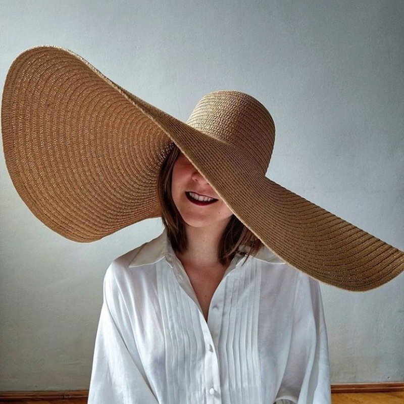 foldable women oversized hat 70cm diameter large brim summer sun beach hats wholesale
