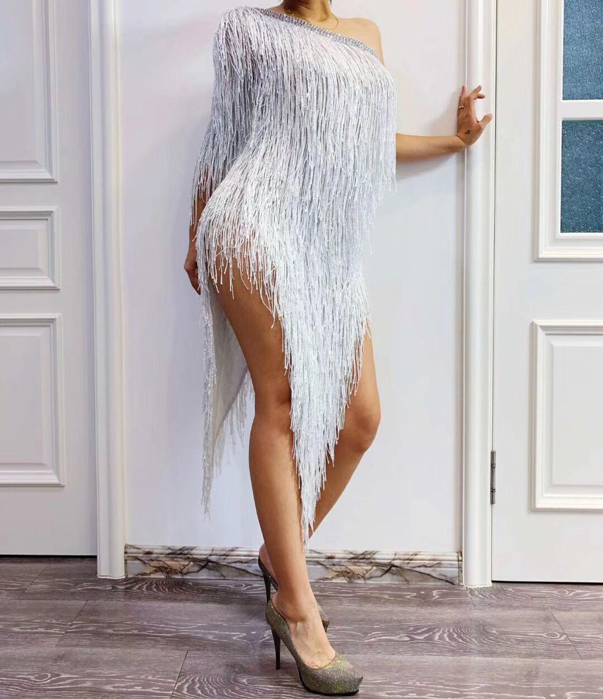 High Quality White One Shoulder Tassel Nightclub Party Dress High Elasticity Dress Dancer Costumes - 2