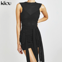 Женские вечерние платья с лентами Kliou, сетчатые прозрачные облегающие Клубные мини-платья без рукавов 5