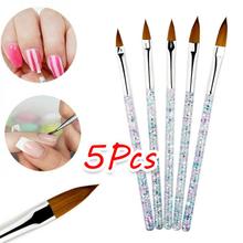 5 sztuk pędzel do zdobienia paznokci narzędzia zestaw kryształowy uchwyt akrylowy żel UV brokat rysunek pędzle malarskie rzeźba kwiat długopisy Nails narzędzia tanie tanio 5Pcs Nail Pen Nail Art Liner Painting Brush Acrylic