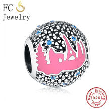 FC Jewelry Fit Original Pandora Charm Bracelet 100% 925 Silver Pink Enamel Blue Cubic Zirconia Flower Bead Making Berloque New(China)