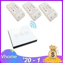 VHome беспроводной пульт дистанционного управления сенсорный выключатель, умный RF 433 МГц релейный Приемник DC источник питания 170 v-250 v 5A контроллер передатчика