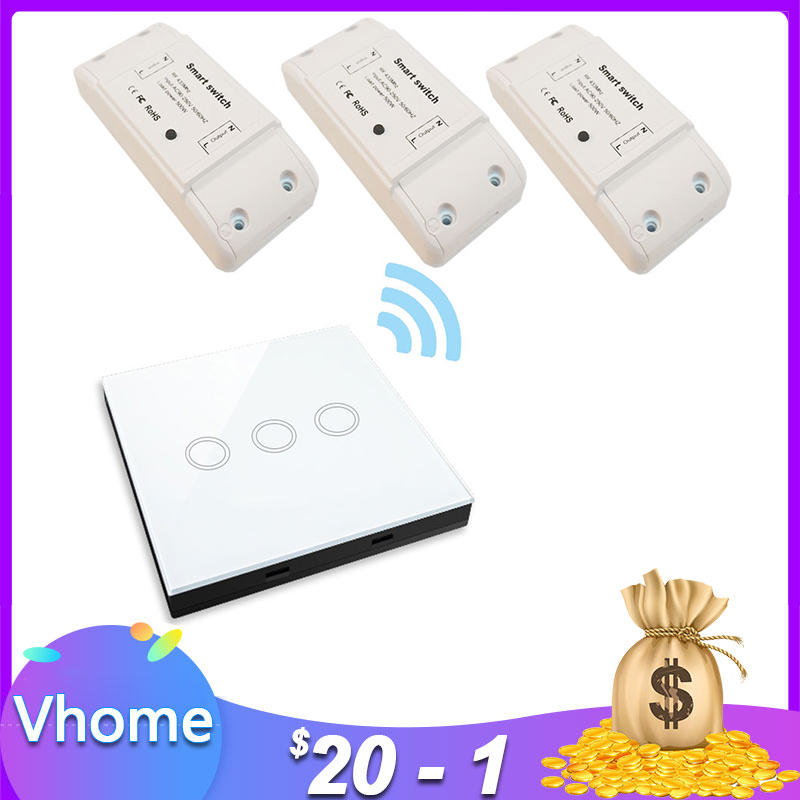 VHome Wireless Remote Control Touch Switch,Smart RF 433MHz Relay Receiver DC Power Supply 170v-250v 5A Transmitter Controller