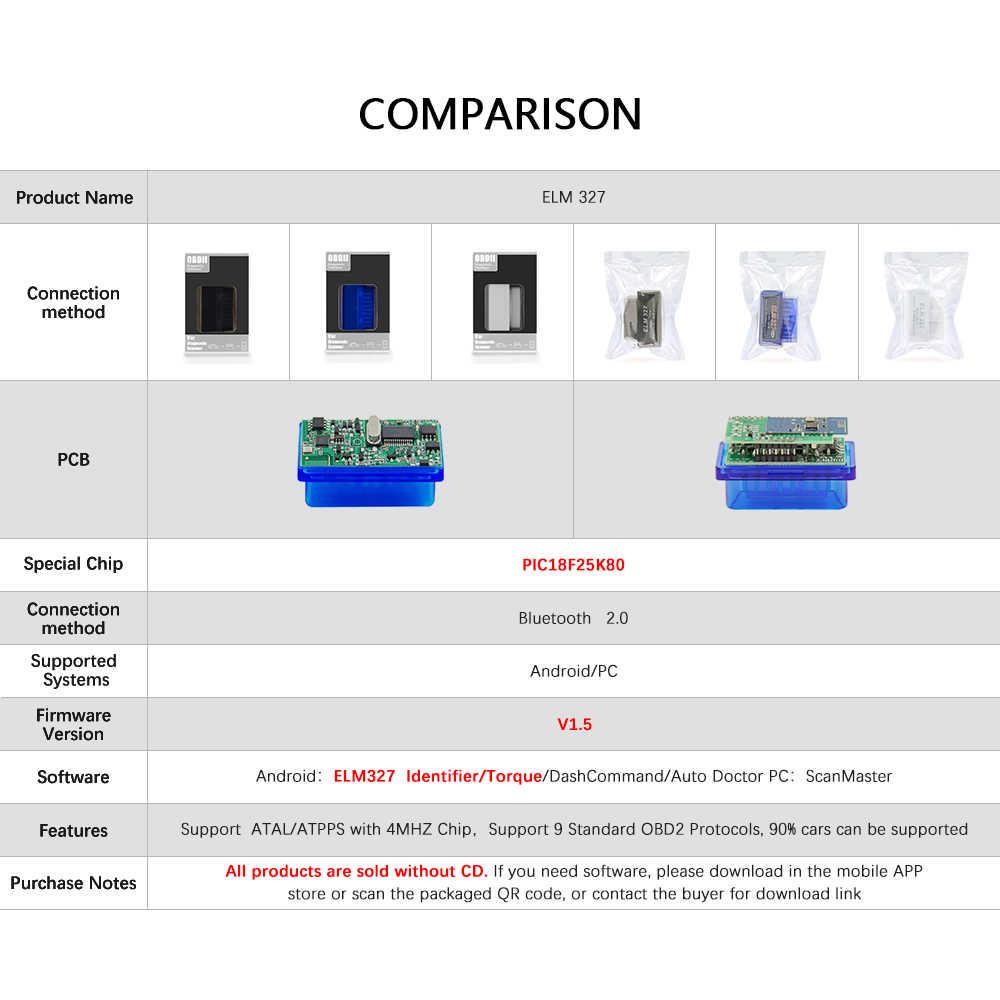MINI PIC18F25K80 ELM327 V1.5 بلوتوث الدردار 327 v1.5 OBD2 الماسح الضوئي التشخيص محول أداة مسح ضوئي OBD OBDII رمز القارئ للولادة