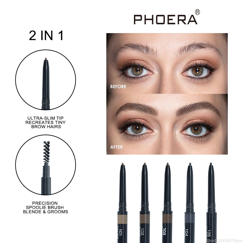 PHOERA 5Color Double Ended Eyebrow Pencil Makeup Tint Natural Long Lasting Paint Tattoo Eyebrow Waterproof Eye Brow Pen TSLM1