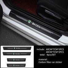 Автомобильный Стайлинг 4 шт./компл. наклейки на порог двери автомобиля для Skoda Octavia Superb Fabia Roomster Yeti аксессуары для украшения автомобиля