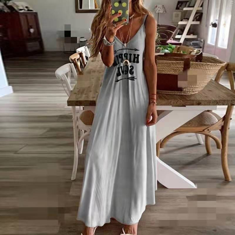 2020 Ladies Casual Loose Band Dress Color Summer <font><b>Sexy</b></font> Boho Bow Camis Befree Long Dresses Plus Size <font><b>6XL</b></font> Large Dress Robe Femme image