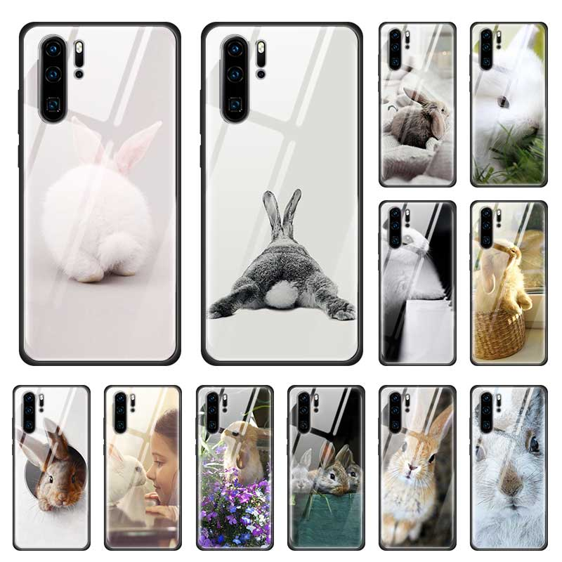White Baby Rabbits Cute Case for Huawei P20 P30 Honor 9X Pro 8X Mate 30 20 10 Lite Tempered Glass + Black Soft Phone Coque Cages image