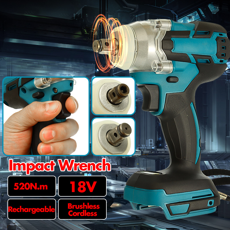 Electric Rechargeable Brushless Impact Wrench 18V 520Nm Cordless 1/2 Socket Wrench Power Tool For Makita Battery
