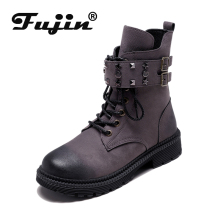 Fujin Women Winter Boots Warm Snow Woman Dropshipping 2019 Round Toe Shoes Lace Up Suede Cotton Ankle