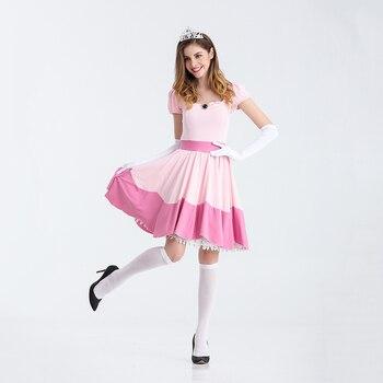 Deluxe Adult Princess Peach Costume Women Princess Peach Super Mario Bros Party Cosplay Halloween Carnival Costumes SnowWhite