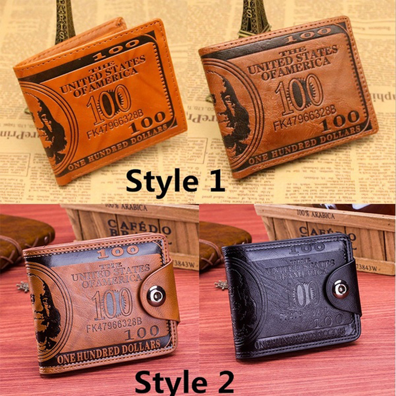 JODIMITTY Men's Wallets With 100 US Dollar Pattern Wallet  Male Leather Wallet  Photo Card Holder Fashion Large Capacity Wallet
