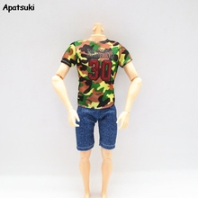 Camouflage 1/6 Boy Doll Clothes For Ken Dolls Outfits T-shirt & Denim Jeans Shorts For Barbie Ken Doll Ken Male Boy Doll Toy