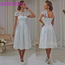 Anjuru- vestido de noiva curto com renda, modelo vintage 2020, com cadarço, ideal para noivas ou casamentos