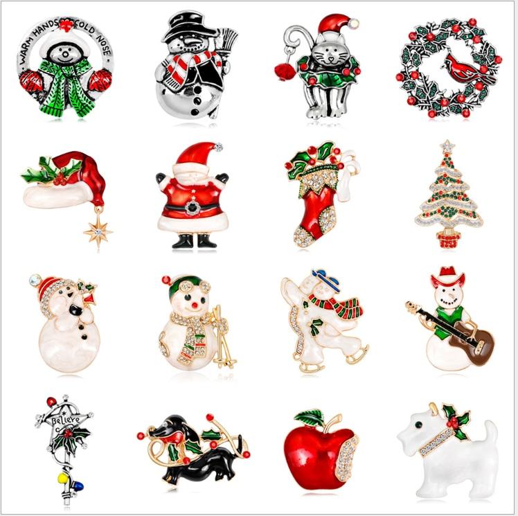 20 pçs/lote frete grátis feminino feliz natal natal papai noel & veados com strass ornamento broche pino - 2