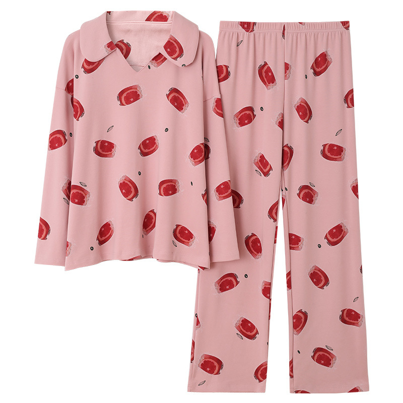 Sleepwear Spring And Autumn New Style Women Cotton Long Sleeve Pants Korean-style Loose Comfortable Women's Sleepwear-Outerwear