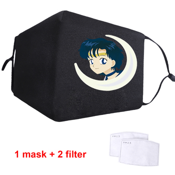Sailor Moon Cute Lovely Japan Anime Washable Anti-dust Mouth Face Mask Adult Black Anti-Dust Facial Protective Muffle Cover Mask