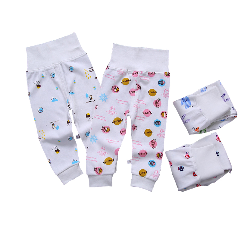 Baby Trousers Cartoon High Belly Pants Boy Grils Leggings Cotton Baby High Waist Elastic Harem Trousers Inafnt Abdomen Clothes