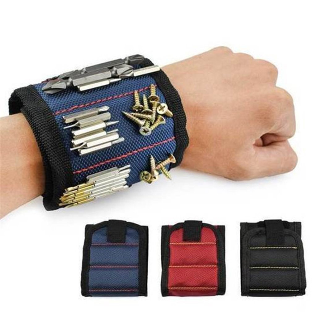 Wristband magnetico Borsa Degli Attrezzi Portatile Magnete Elettricista Strumento di Cintura Da Polso Viti Chiodi Punte da Trapano Braccialetto Per Strumento di Riparazione