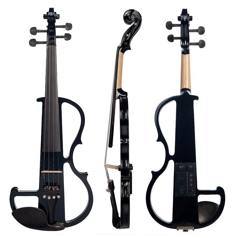 Violon électrique chaud 4/4 pleine taille violon avec étui arc écouteur colophane ensemble noir nouveau - 2