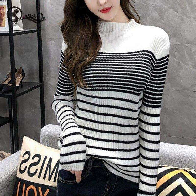 2019 Women Sweater Autumn Winter Stripes Slim Pullovers Long Sleeved Turtleneck Slim Bottom Knitted Sweater