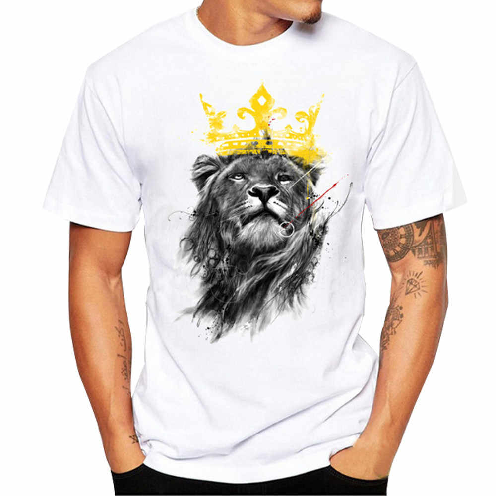 Plus Size Men Women Lion Print Tees Shirt Oversized Unisex Short Sleeve Cotton T Shirt White Fashion Simple Streetwear Tops #D