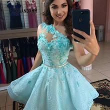 Homecoming Dress Turquoise Mini Party-Gown Formal Lace Short Pearls Flowers Sashes Appliques