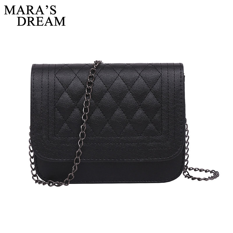 Mara's Dream 2020 PU Leather Women Messenger Bag Plaid Crossbody Chain Trendy Candy Color Small Flap Women Bag Handbag